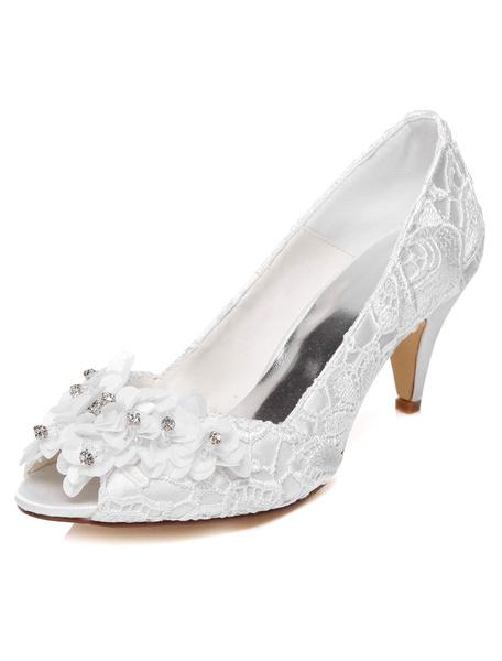 White Flowers Lace Peep Toe Bridal Pumps for Women фото