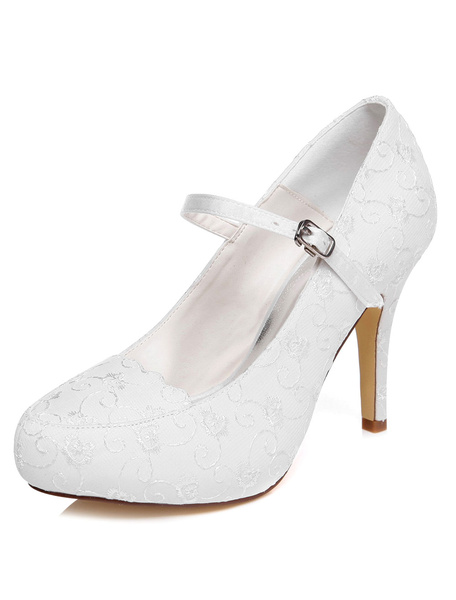 White Embroidered Satin Bridal Pumps for Women фото
