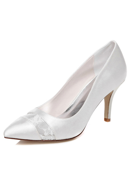 White Satin Pointy Toe Bridal Pumps for Women фото