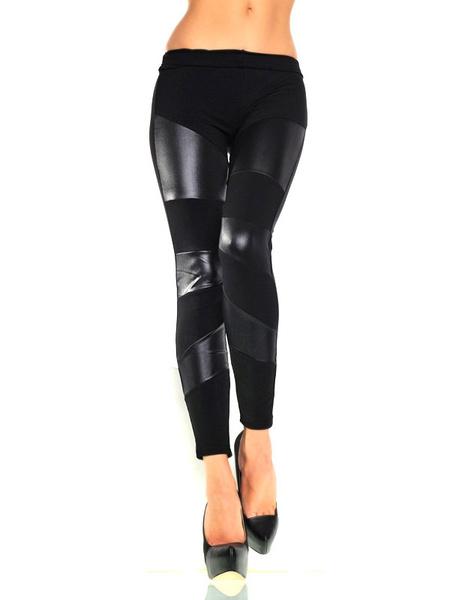 Black PU Stretch Shaping Leggings for Women фото