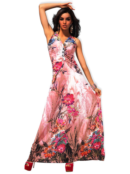 Multicolor Floral Print Knotted Lycra Spandex Maxi Dress for Women