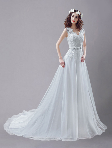 White Wedding Dress Queen Anne Embroidered Sash Lace Wedding Gown фото