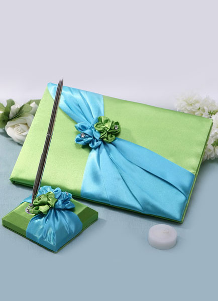 Green&Blue 3D Flowers Bows Wedding Books and Pens