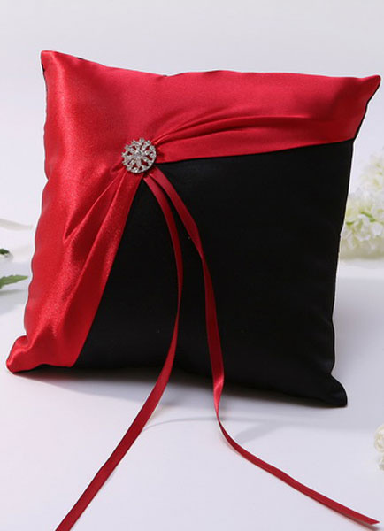 Red Metal Details Ribbons Satin Wedding Pillow