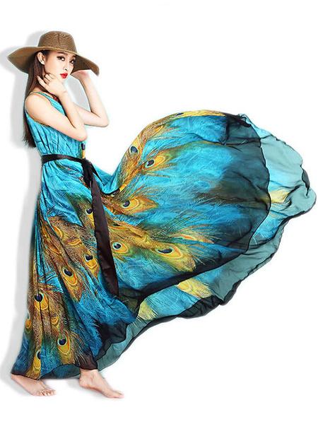 Multicolor Sash Trendy Chiffon Maxi Dress for Women фото