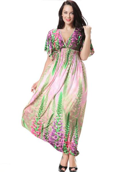 Multicolor Print Deep-V Milk Silk Maxi Dress for Women, Grass green
