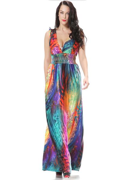 Multicolor Print Sexy Deep-V Maxi Dress for Women