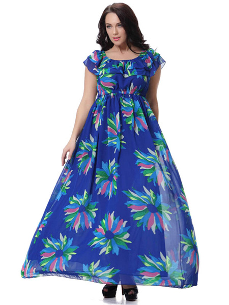 Plus Size Dress Print Chiffon Chic Maxi Dress For Women