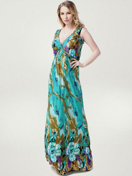 Plus Size Dress Print Deep-V Milk Silk Maxi Dress For Women, Green