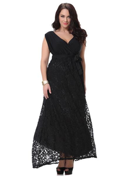 Plus Size Dress Black Lace Chic Maxi Summer Dress For Women фото