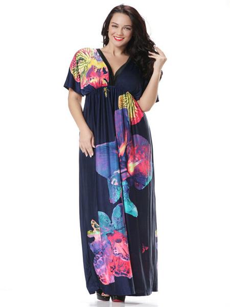 Plus Size Dress Print Ruffles Milk Silk Maxi Dress For Women, Deep blue