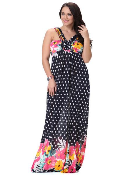 Print Lace Up Polka Dot Milk Silk Maxi Dress for Women
