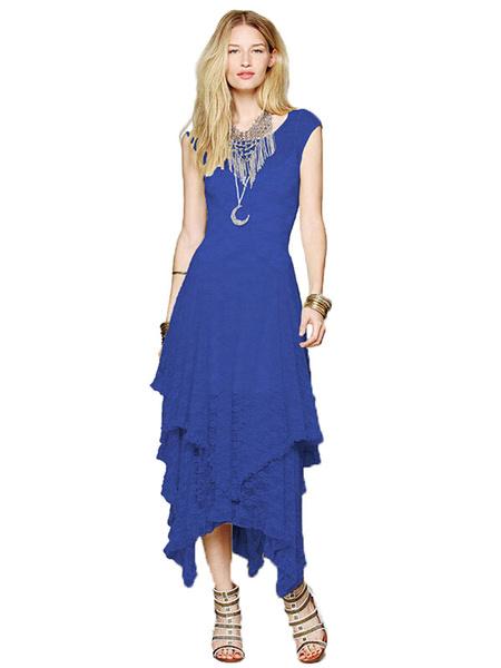 Deep Blue Lace Chic Maxi Summer Dress for Women