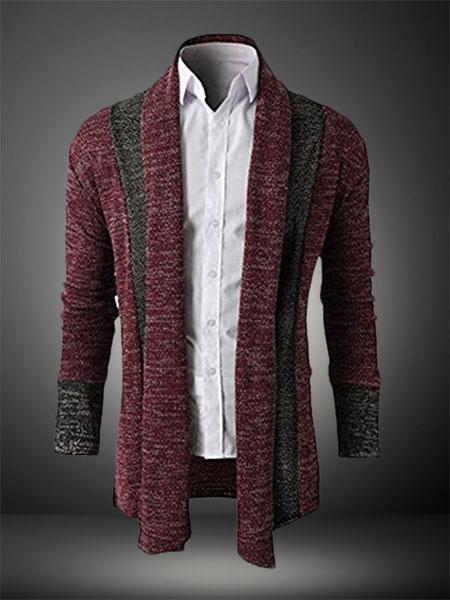 Burgundy Shaping Trendy Cotton Blazer for Men Milanoo