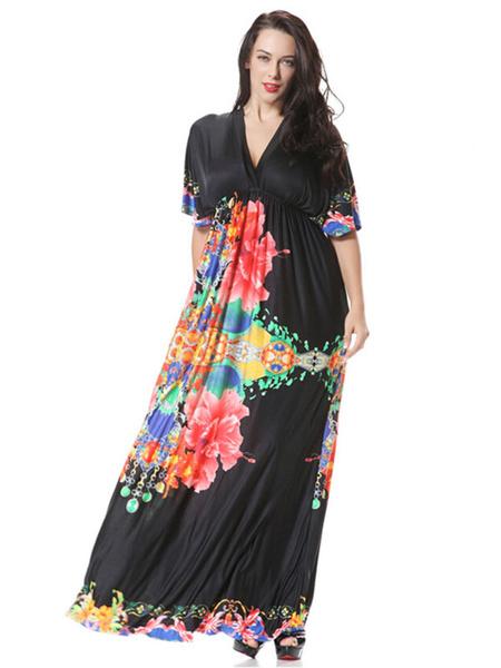 Plus Size Dress Print Trendy Deep-V Milk Silk Maxi Dress For Women, Black