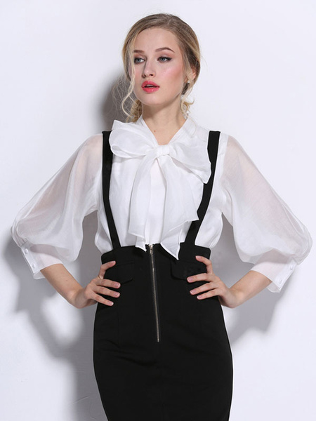 White Bows Puffed Sleeve Silk Blouse for Women фото