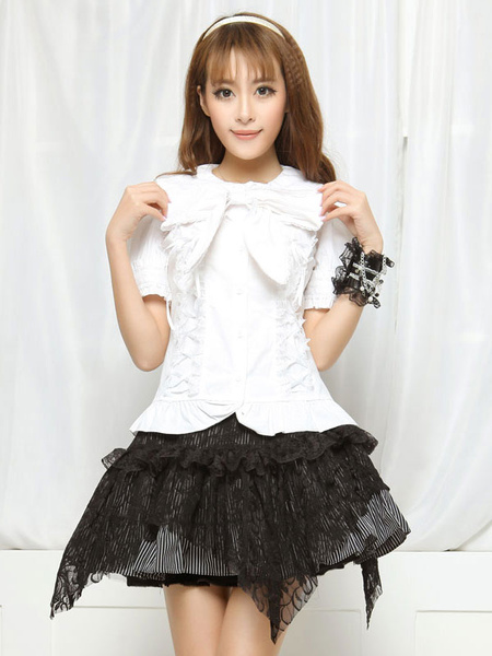 White Bows Ruched Cotton Lolita Blouse for Women фото