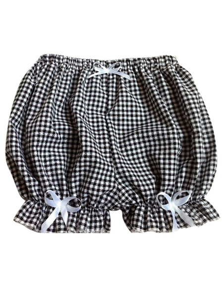 Sweet Lolita Bloomers Two-Toned Plaids Bows Cotton Lolita Shorts For Women фото