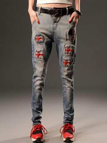 Blue Chic Print Cotton Ripped Jeans For Women фото