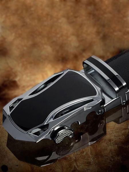Black Embossed Metallic Leather Belt for Men фото