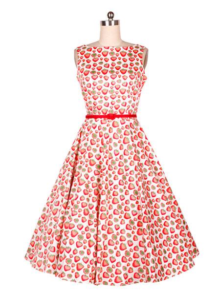 Red Print Sash Brocade Vintage Dress for Women фото