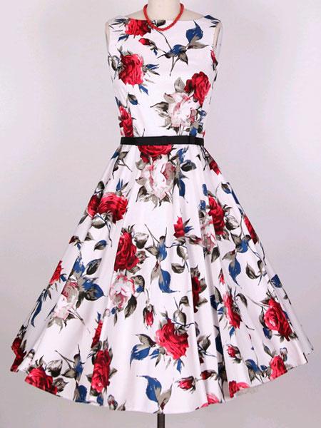 Multicolor Print Sash Vintage Dress for Women фото
