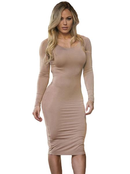 Abricot découpe Sexy Polyester Bodycon Dress pour femmes