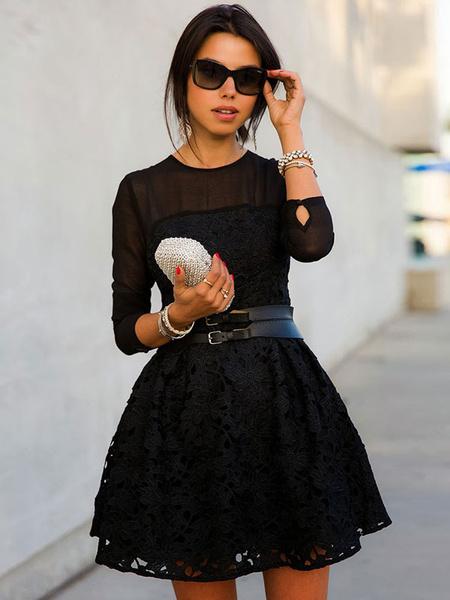 Black Sash Lace Flare Dress for Women фото