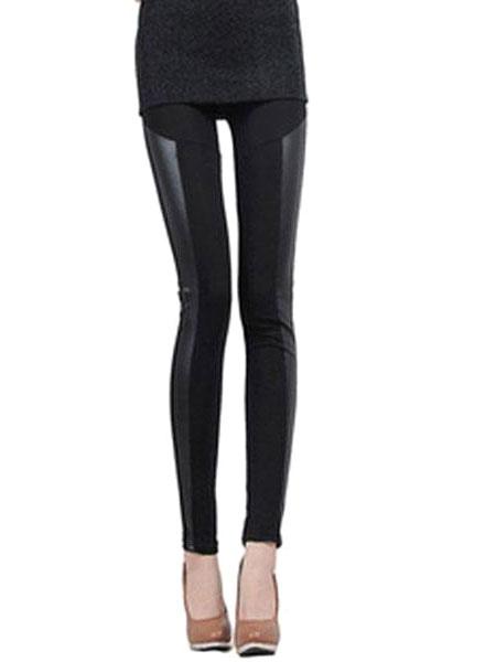 Black Spandex Slim Fit Leggings for Women фото