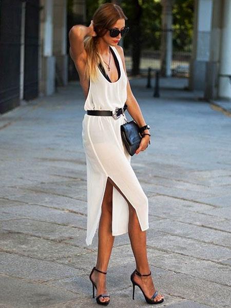 White Split Backless Cotton Summer Dress for Women фото