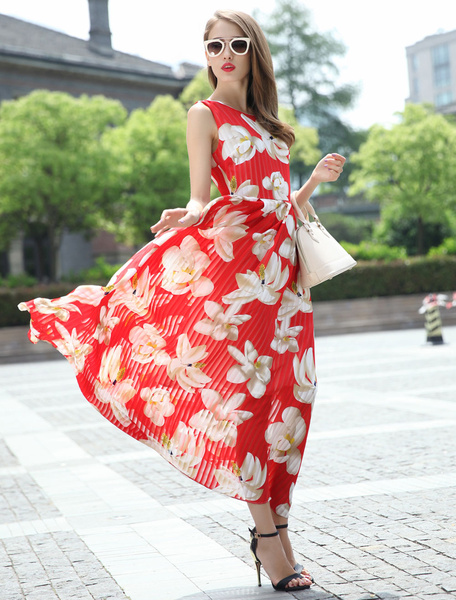 Red Floral Print Chiffon Maxi Dress for Women