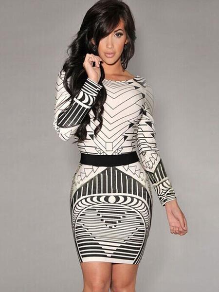 Multicolor Sash Spandex Print Bodycon Dress for Women