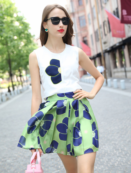 White Print Chiffon Top and Skirt for Women фото