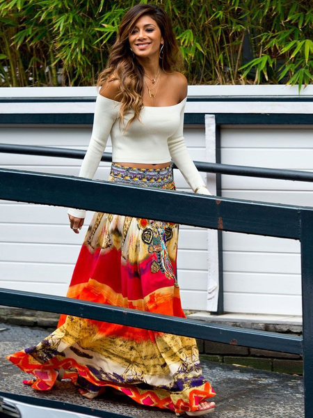 Multicolor Off-the-Shoulder Print Acetate Skirt for Women фото