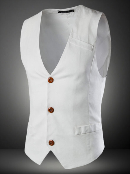 White Buttons Casual Cotton Waistcoat for Men фото