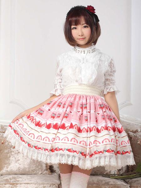 Pink Ruffle Polyester Lolita Skirt for Women фото