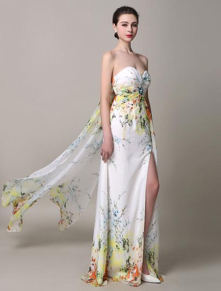Come Satin Prom abito di seta senza spalline Split multicolor
