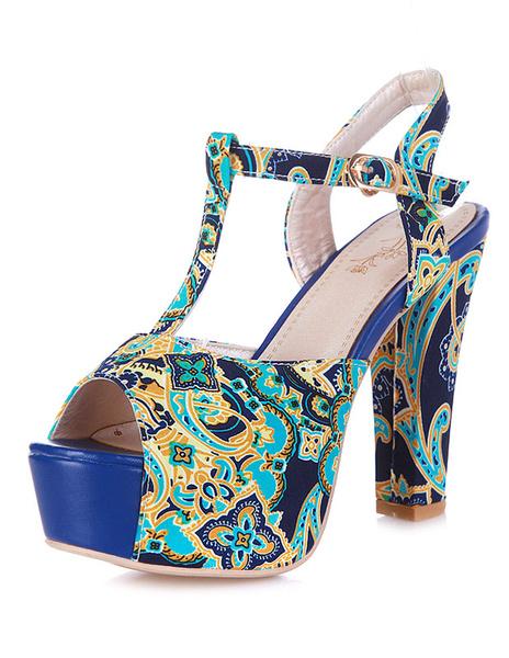 Multicolor Print Peep Toe Platform Textile Sandals for Women фото