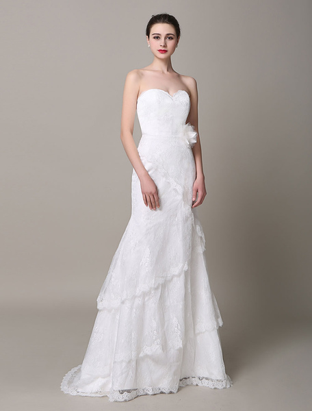 Ivory Wedding Dress Strapless Tiered Flowers Lace Wedding Gown фото