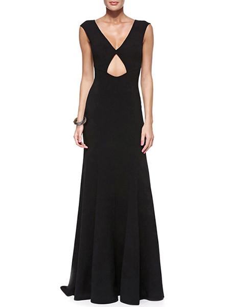 Black Cut-Out Backless Roman Knit Maxi Dress for Women