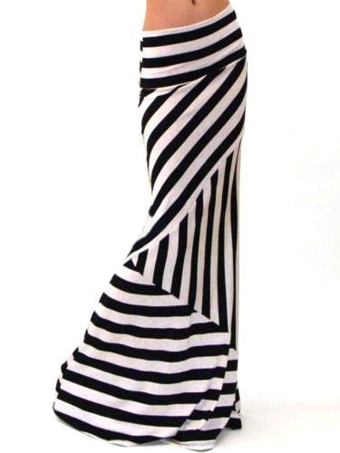 Two-Tone Stripes Print Roman Knit Trendy Maxi Skirt for Women фото