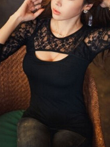 Black Top With Lace Sexy Cut-Out for Women Milanoo