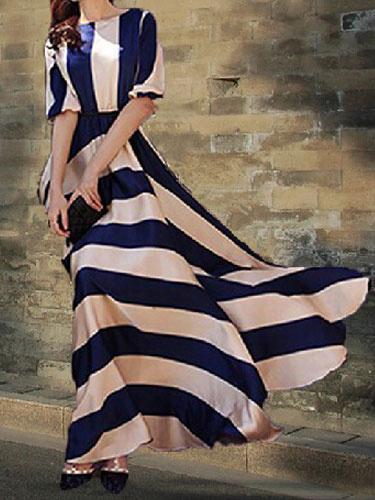 Two-Tone Maxi Dress With Stripes Print Cotton Satin for Women фото