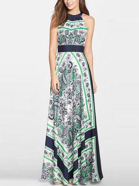 Multicolor Maxi Dress With Ruffles Cotton Satin for Women фото