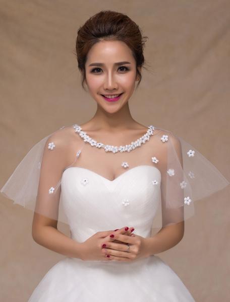 Ivory Tulle Flowers Wedding Bridal Shawl фото