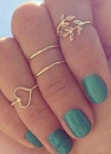 Gold Metal Casual Knuckle Ring for Women фото