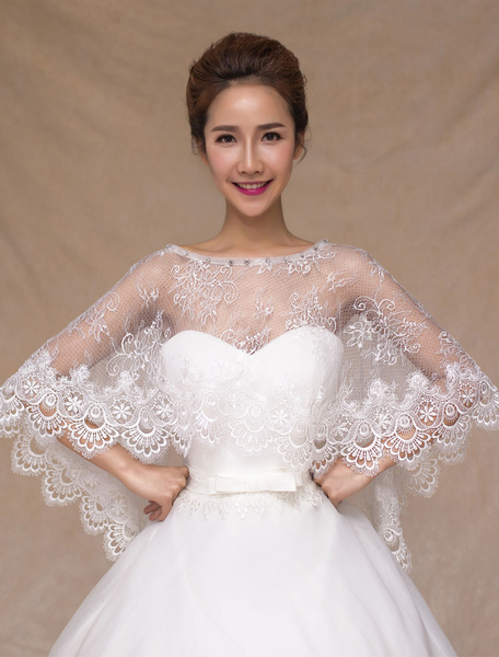 Ivory Semi-Sheer Lace Wedding Shawl for Women фото