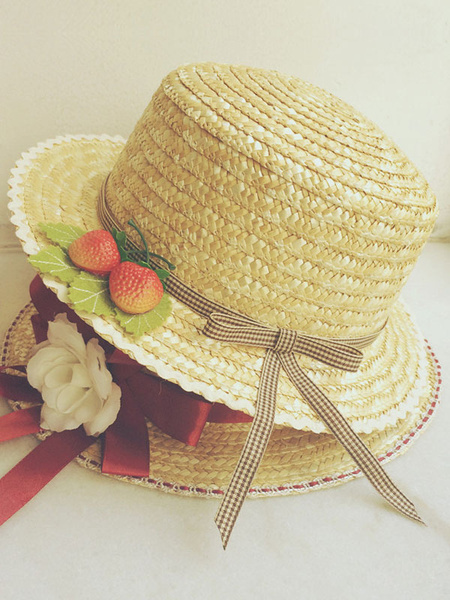 Multicolor Lolita Straw Hat Strawberry Shape Synthetic Hat Milanoo