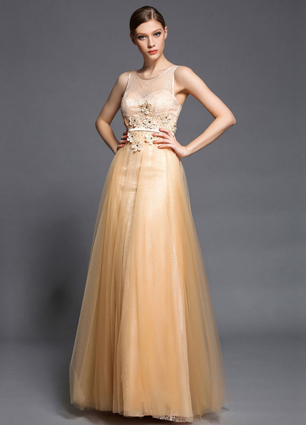 Orange Applique Lace Tulle Maxi Prom Dress 2017 фото