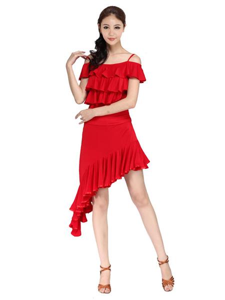 Red Straps Latin Dance Dress High Low Milk Silk Dress фото